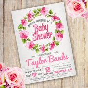 Floral Wreath Baby Shower Girl Invitation
