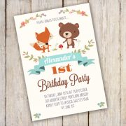 WOODLAND Birthday Party Invitation Template - edit with Adobe reader