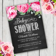 Chalkboard flower Shower Invitation template